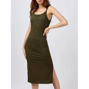 Green Ribbed Tank Dress